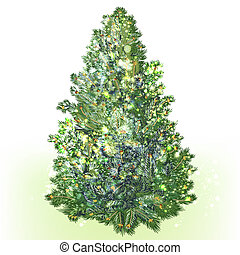 Green vector realistic Christmas tree isolated on white