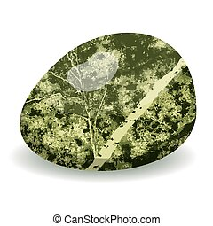 Green vector stone isolated on white background, vector