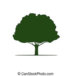 Green Vector Tree and Roots. Vector Illustration.