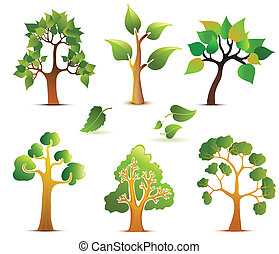 Green Vector Trees Set