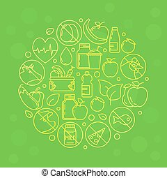 Green vector vegetarian illustration