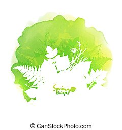 Green vector watercolor stain with white foliage silhouette