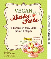 green vegan bake sale promotion flyer with cupcakes - ...