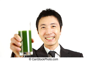 green vegetable juice%u3000 - portrait of Japanese...