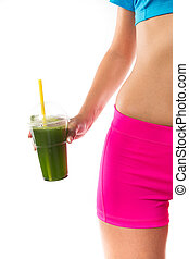 Green vegetable smoothie. Woman living healthy lifestyle. -...