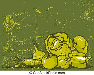 green vegetable vintage background
