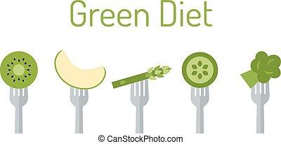 Green vegetables and fruit on forks