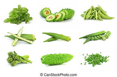 green vegetables collection isolated on white background
