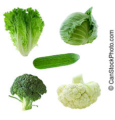 Green vegetables - Lettuce, cabbage, cucumber, broccoli, ...