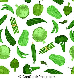 Green vegetables seamless pattern. Cabbage broccoli and cucumber