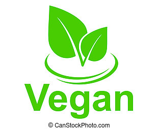 green vegetarian sign with leaves on white background
