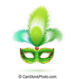 Green venetian carnival mask with feathers isolated on white background