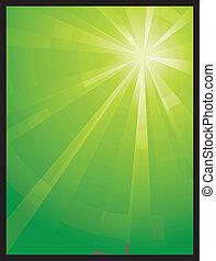 Green vertical asymmetric light burst - Asymmetric green...