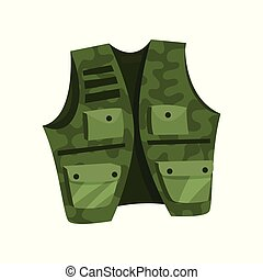 Green vest of hunter and fisherman vector Illustration on a white background