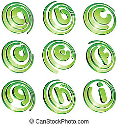 Green vibrant logo set. - Set of 3d letter vector signs.