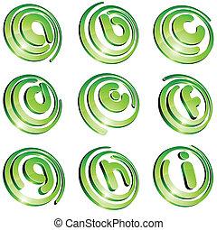 Green vibrant logo set. - Set of 3d letter vector signs.