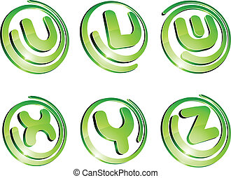 Set of 3d letter vector signs.