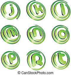 Green vibrant logo set. - .Set of 3d letter vector signs.