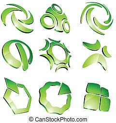 Green vibrant logos. - Set of 3d vibrant signs.