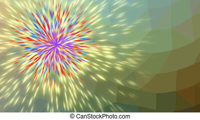 Green video background with multicolored light particles....