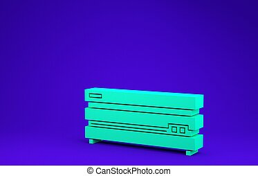 Green Video game console icon isolated on blue background. Minimalism concept. 3d illustration 3D render