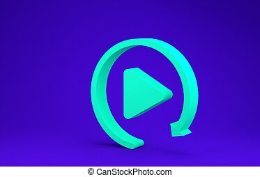 Green Video play button like simple replay icon isolated on blue background. Minimalism concept. 3d illustration 3D render