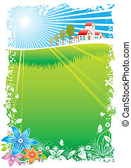Green Village Scenic frame, vector illustration layers file.