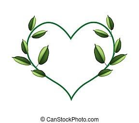 Green Vine Leaves in Beautiful Heart Shape