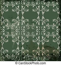 Green  vintage background  in scrapbook style