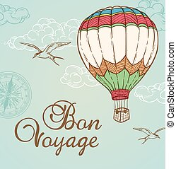 Green vintage background with air balloon