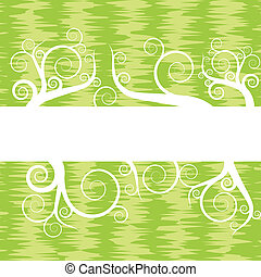 Green vintage background with floral scrolls vector
