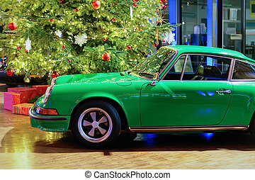 Green vintage classic car in Berlin