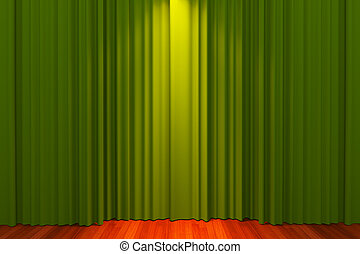 Green vintage empty room with red curtain