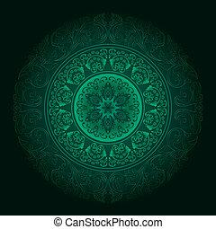 Green vintage floral background