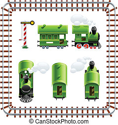 green vintage locomotive with coach set vector illustration...