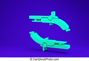 Green Vintage pistols icon isolated on blue background. Ancient weapon. Minimalism concept. 3d illustration 3D render