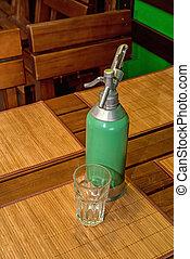 Green vintage soda syphon