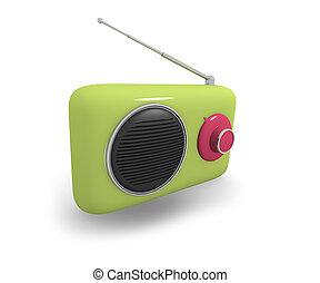 Green vintage style radio, 3d illustration