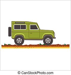green vintage suv car off-road 4x4 icon colored