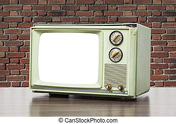 Green Vintage Television with Brick Wall and Cut Out Screen