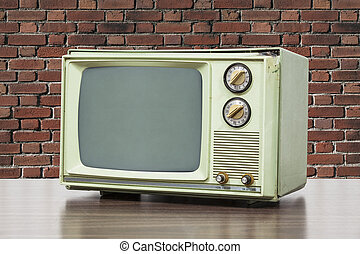 Green Vintage Television with Brick Wall