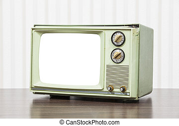 Green Vintage Television with Cut Out Screen