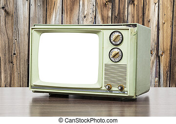 Green Vintage Television with Old Wood Wall and Cut Out Screen