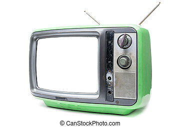 Green Vintage TV on white background