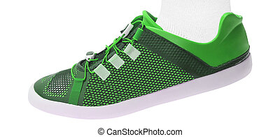 green walking sport shoes isolated on white background