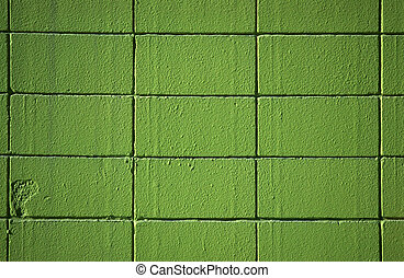 Green wall - A brick wall painted in green
