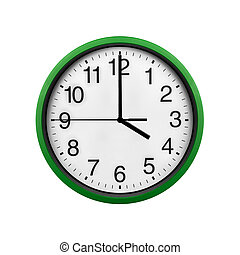Green wall clock isolated on a white background.