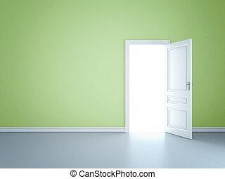 opened door - Green wall with opened door