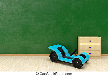 Green wall with toy car and copy space wooden floor