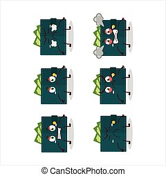 Green wallet cartoon character with various angry expressions